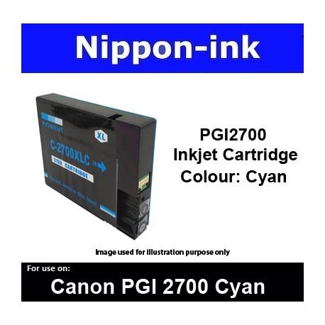 PGI2700 Cyan ( CY ) For Canon ink cartridge - MB5070 MB5170 MB5370 MB5470 iB4070  iB4170 - PGI2700CY