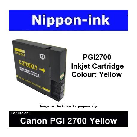 PGI2700 Yellow ( Y ) For Canon ink cartridge - MB5070 MB5170 MB5370 MB5470 iB4070  iB4170 - PGI2700Y