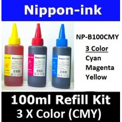 Universal Refill Kit 3 x 100ml Bottle ( Cyan Magenta Yellow ) fo Inkjet Ink Cartridge or Ink Tank System Printer Models
