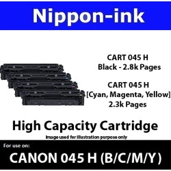 Cartridge 045H For Canon laser toner Cartridge045H Nipponink ( Colour Selection Black Cyan Magenta Yellow )