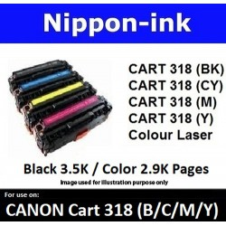 Cartridge 318 For Canon laser toner Cartridge318 Nipponink ( Colour Selection Black Cyan Magenta Yellow )