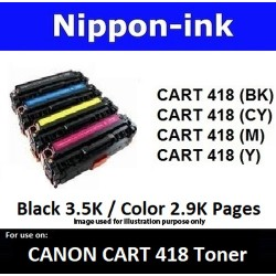 Cartridge 418 For Canon laser toner Cartridge418 Nipponink ( Colour Selection Black Cyan Magenta Yellow )