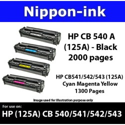 For HP 125 A ( CB 540A ) laser 540 Toner Nipponink 125A ( CB540A )  ( Color Selection Black Cyan Magenta Yellow )