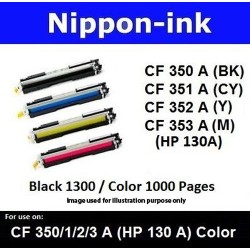 For HP 130 A ( CF 350A 351A 352A 353A ) laser Toner Nipponink 130A ( CF350A CF351A CF352A CF353A )( Black Cyan Magenta Yellow )