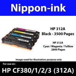 For HP 312 A ( CF 380A 381A 382A 383A ) laser Toner Nipponink 312A ( CF380A CF381A CF382A CF383A )( Black Cyan Magenta Yellow )
